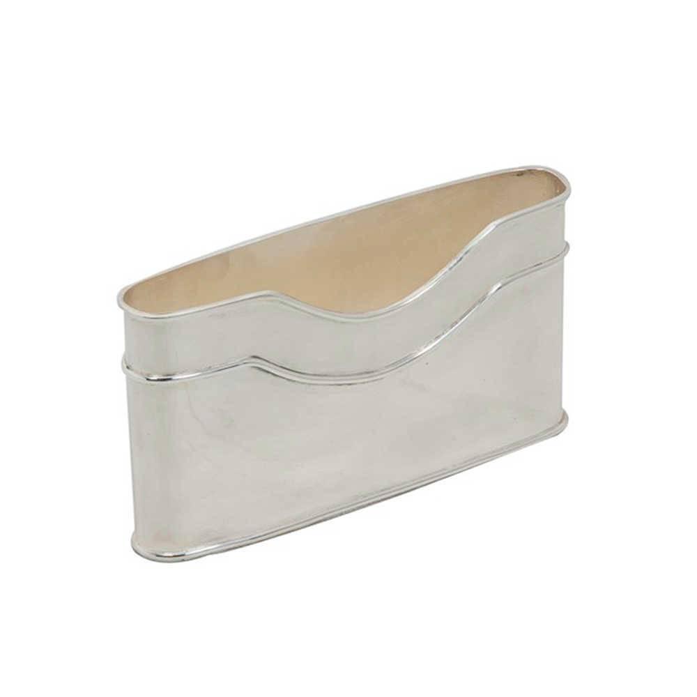 Porta Cartas Melory em Metal com Banho de Prata - 23x12 cm