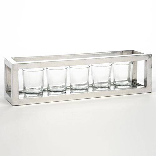 Porta Castiçais - 5 Peças - em Vidro - 37x10 cm