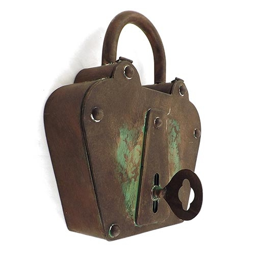 Porta Chaves Cadeado Antique Metal Oldway - 35x30 cm