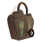 Porta Chaves Cadeado Antique Metal Oldway - 35x30 cm