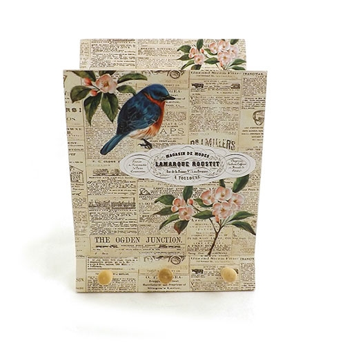 Porta Chaves e Cartas Blue / Bird Journal - Em Madeira MDF - 22x15cm