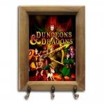 Porta-Chaves Dungeons and Dragons com Moldura em Madeira - 26x20 cm