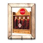 Porta Chaves Engradado Retrô da Coca-Cola com Moldura em Madeira - 26x20 cm