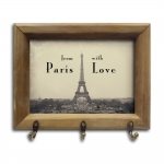 Porta-Chaves From With Paris Love com Moldura em Madeira - 26x20 cm