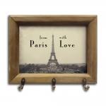 Porta-Chaves From With Paris Love com Moldura em Madeira - 26x20 cm