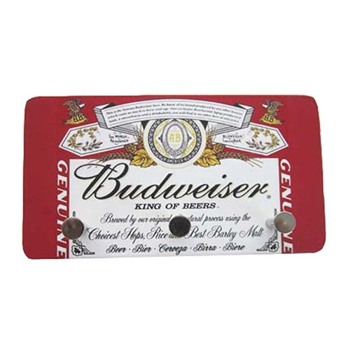 Porta Chaves de Metal Budweiser King Of Beers - 3 Pinos - 15x8 cm