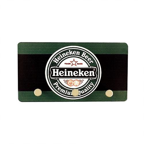 Porta Chaves de Metal Heineken Beer - 3 Pinos - 15x8 cm
