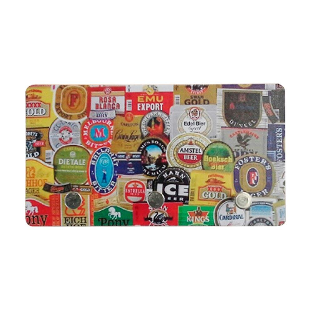 Porta-Chaves de Metal Rótulos de Cerveja - 3 Pinos - 15x8 cm