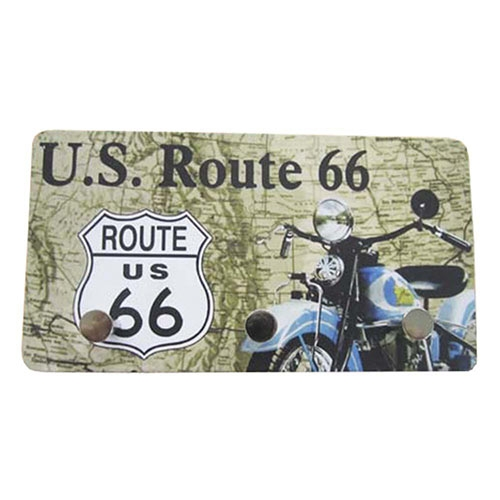 Porta Chaves de Metal US Route 66 - 3 Pinos - 15x8 cm