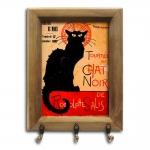 Porta-Chaves Tourneé Du Chat Noir Gato Preto com Moldura em Madeira - 26x20 cm