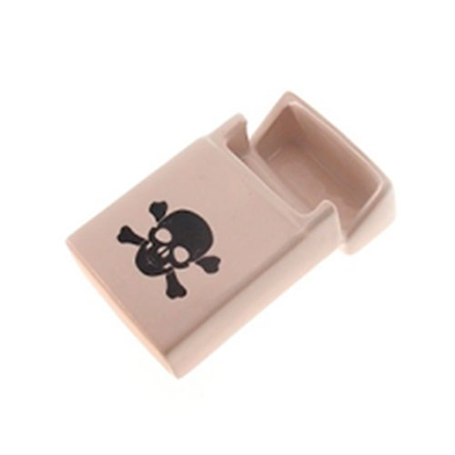 Porta-Cigarros Branco Caveira Preta em Cerâmica - 10x6 cm