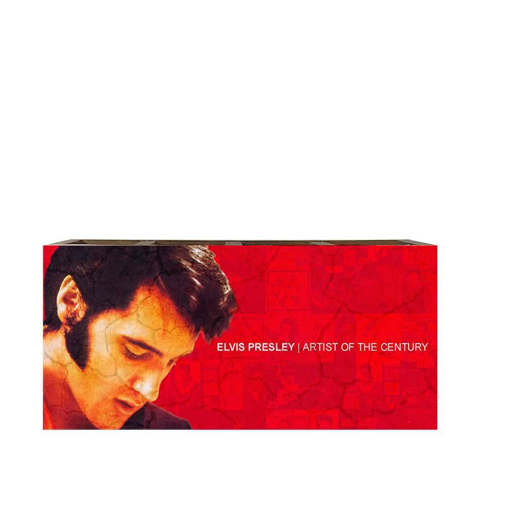 Porta Controles Elvis Presley Fundo Vermelho em Madeira - 22x9,5 cm