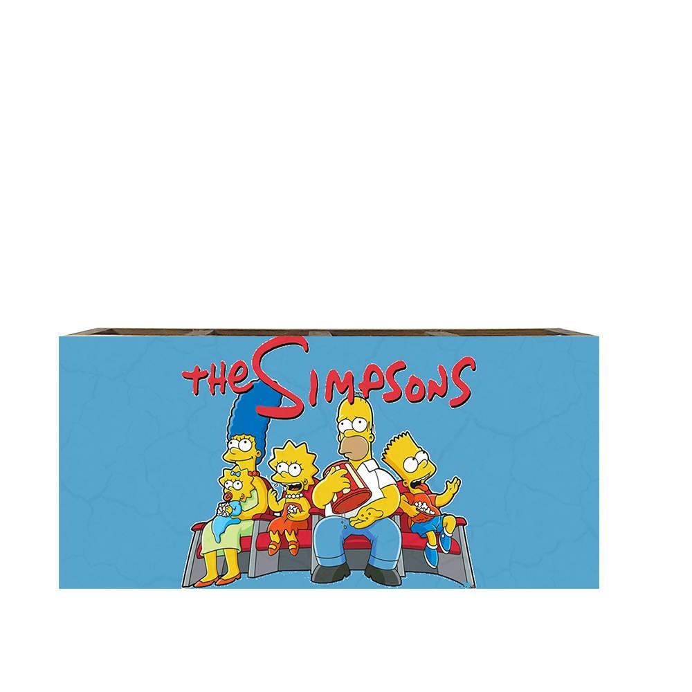 Porta Controles Família Simpson Fundo Azul em Madeira - 22x9,5 cm