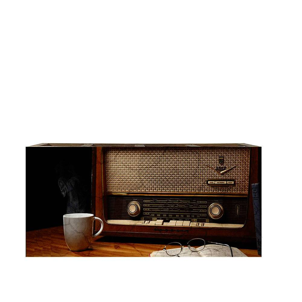 Porta Controles Rádio e Uma Caneca de Café em Madeira - 22x9,5 cm