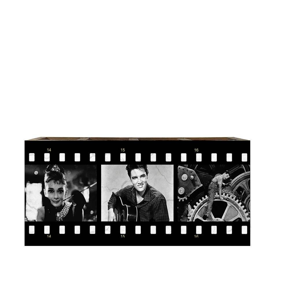 Porta Controles Remotos Audrey/ Elvis/ Chaplin Preto e Branco em Madeira - 22x9,5 cm