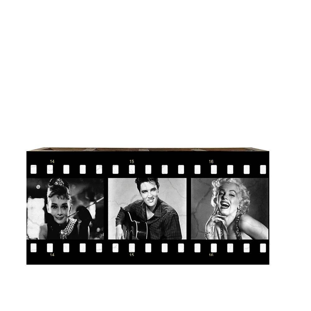 Porta Controles Remotos Audrey/ Elvis/ Marilyn Preto e Branco em Madeira - 22x9,5 cm