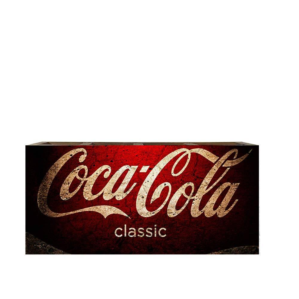 Porta Controles Remotos Coca-Cola Classic Vermelho em Madeira - 22x9,5 cm