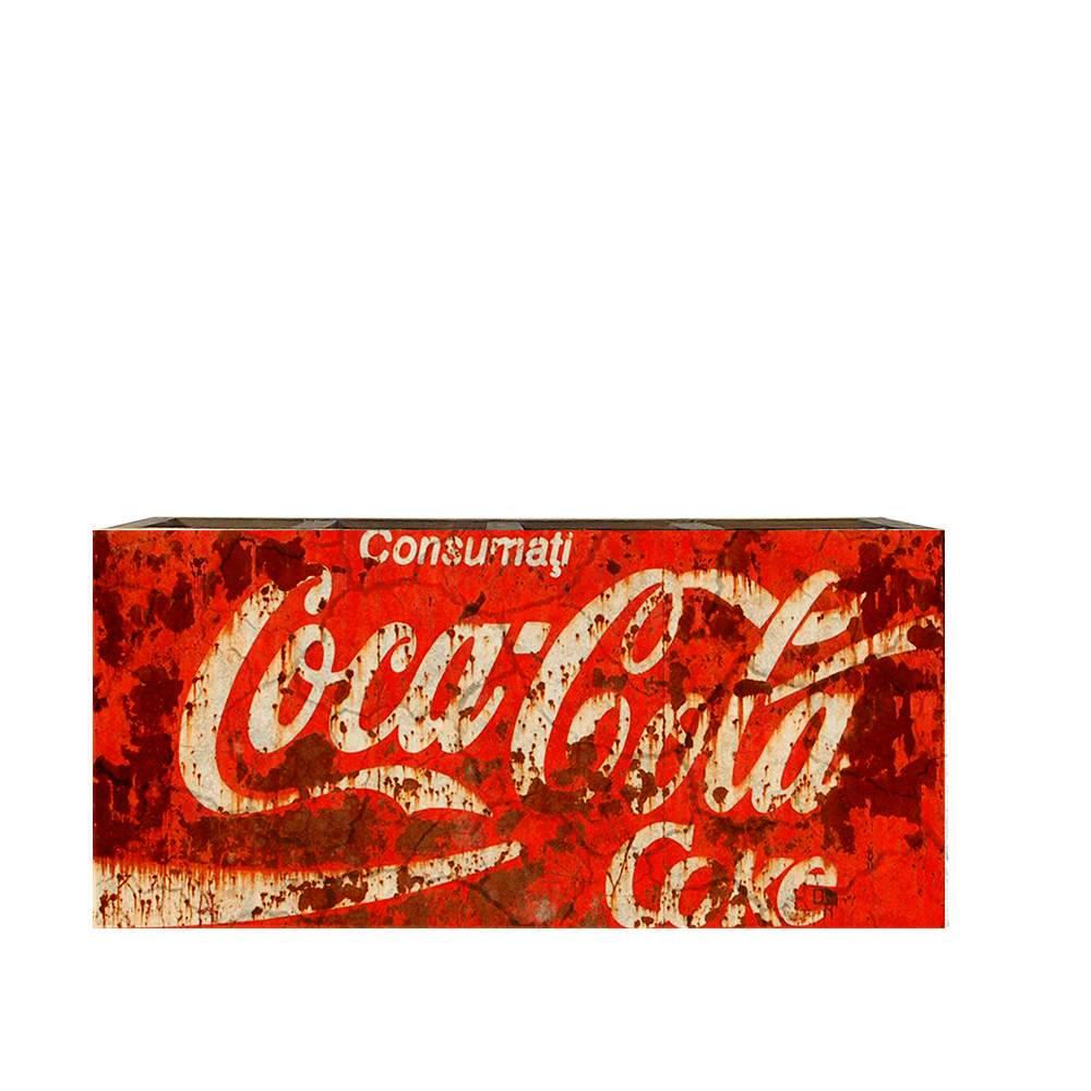 Porta Controles Remotos Coca-Cola Efeito Enferrujado Vermelho em Madeira - 22x9,5 cm
