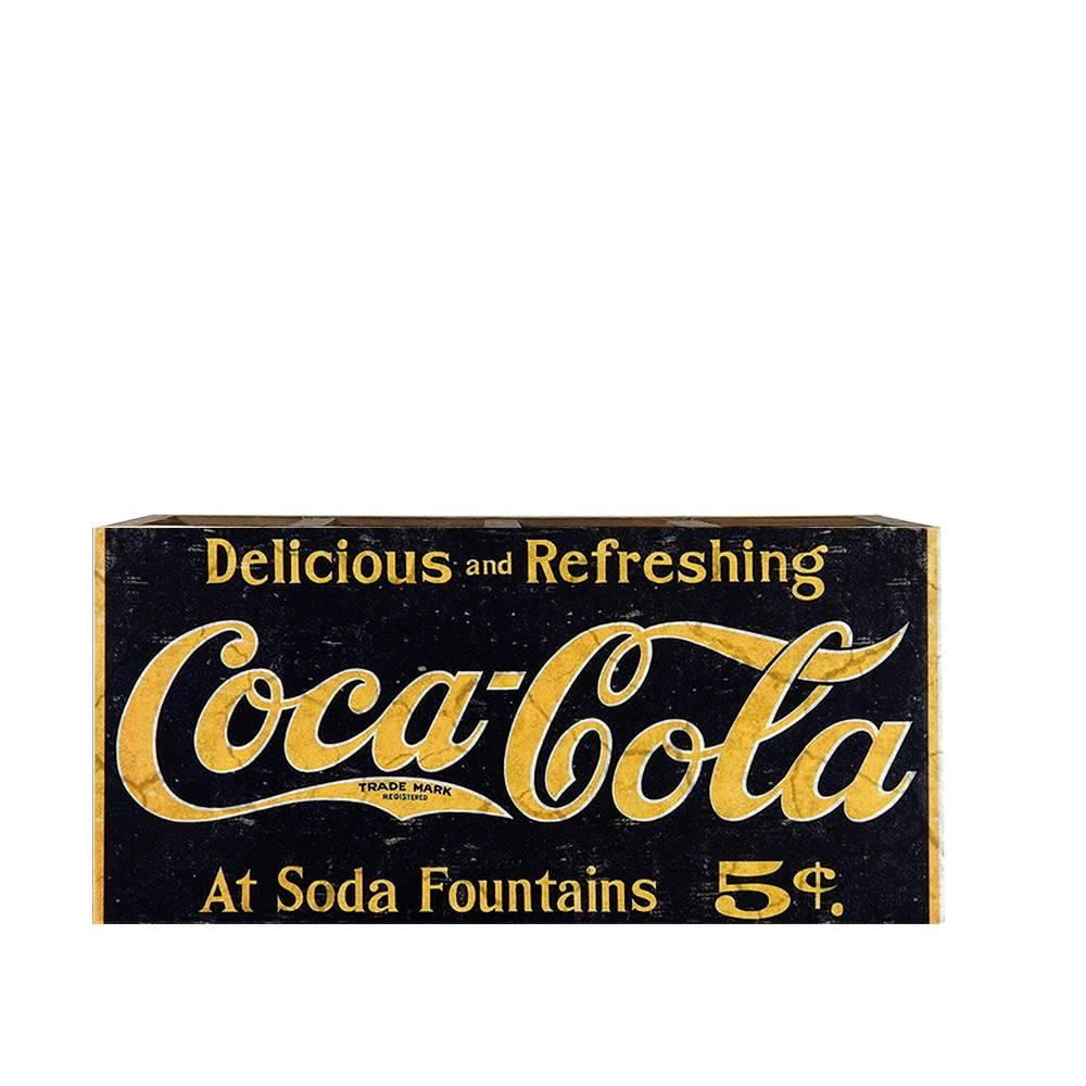 Porta Controles Remotos Coca-Cola Preto e Amarelo em Madeira - 22x9,5 cm