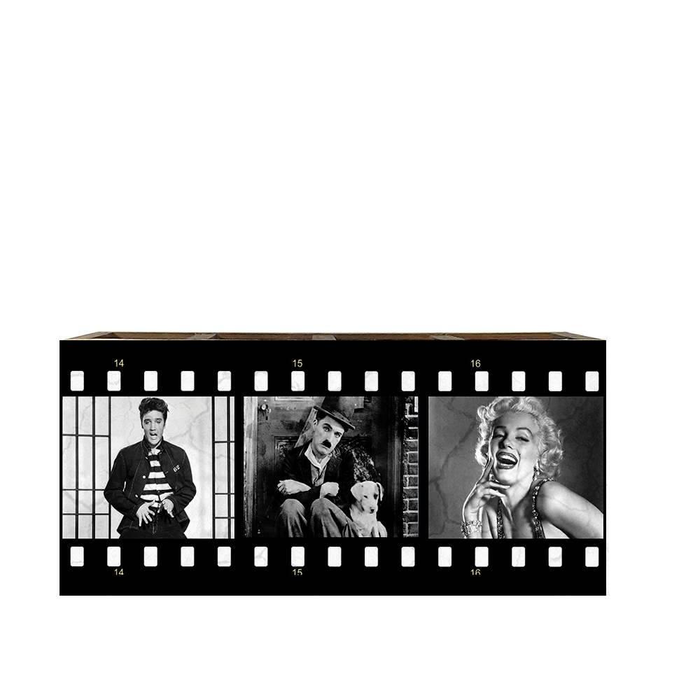Porta Controles Remotos Elvis/ Chaplin/ Marilyn Preto e Branco em Madeira - 22x9,5 cm