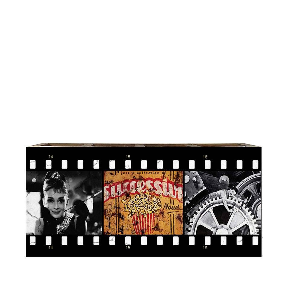 Porta Controles Remotos Famosos e Pipoca de Cinema em Madeira - 22x9,5 cm