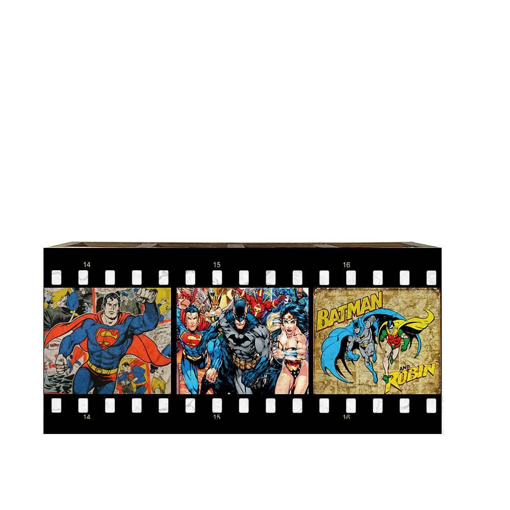 Porta Controles Remotos Super Herois de História em Quadrinhos em Madeira - 22x9,5 cm