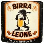 Porta-Copo Cerveja Birra Leone Branco/Preto em Resina