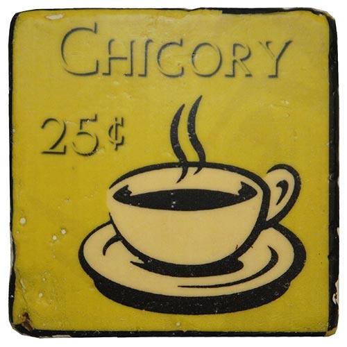 Porta-Copo Café Chicory Amarelo Oldway em Resina - 10x10 cm