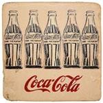 Porta-Copo Garrafas Coca-Cola Sépia Oldway - em Resina - 10x10 cm
