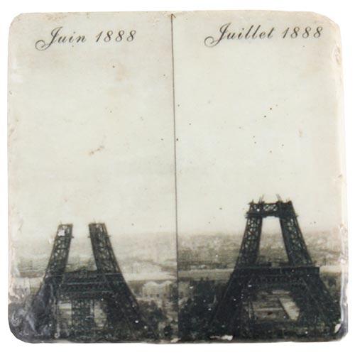 Porta-Copo Construção Torre Eiffel Preto e Branco Oldway em Resina - 10x10 cm