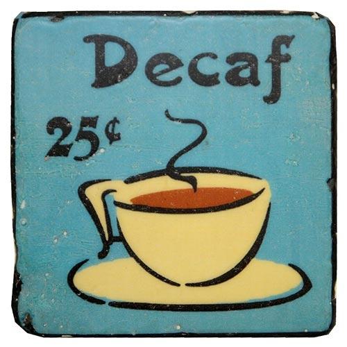Porta-Copo Café Decaf Azul Oldway em Resina - 10x10 cm