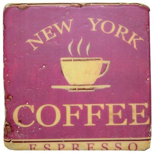 Porta-Copo New York Coffee Oldway Roxo em Resina - 10x10 cm