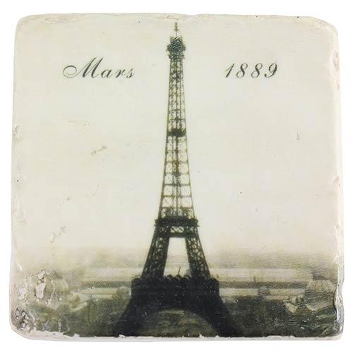 Porta-Copo Torre Eiffel Março 1889 Preto e Branco Oldway em Resina - 10 cm