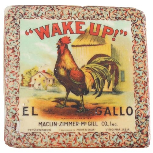Porta-Copo Wake Up El Gallo Oldway em Resina - 9,5 cm