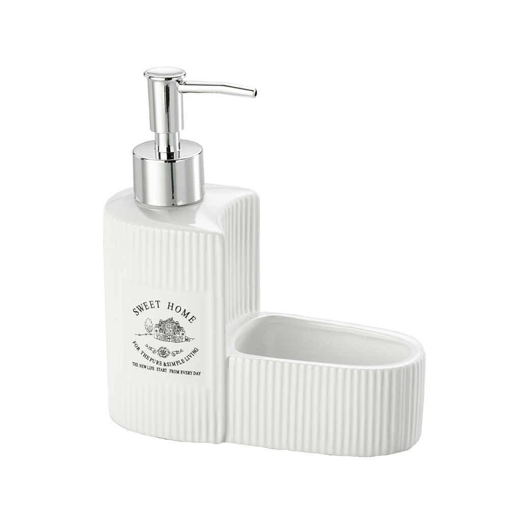 Porta Detergente e Esponja Sweet Home em Porcelana - Lyor Design - 17x15 cm