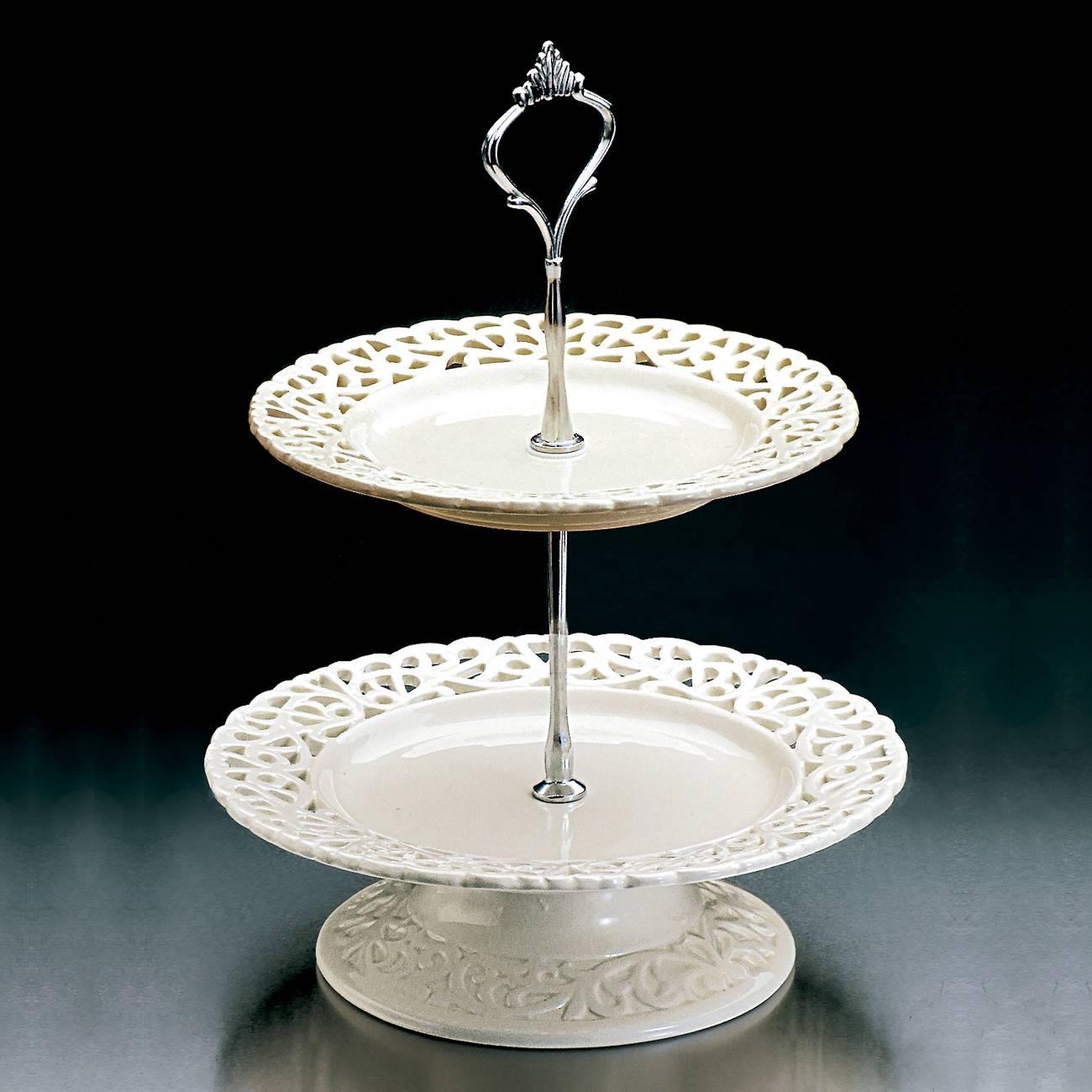 Suporte para Doces Delicate em Porcelana - 2 Andares - Bon Gourmet - 30x20,5 cm