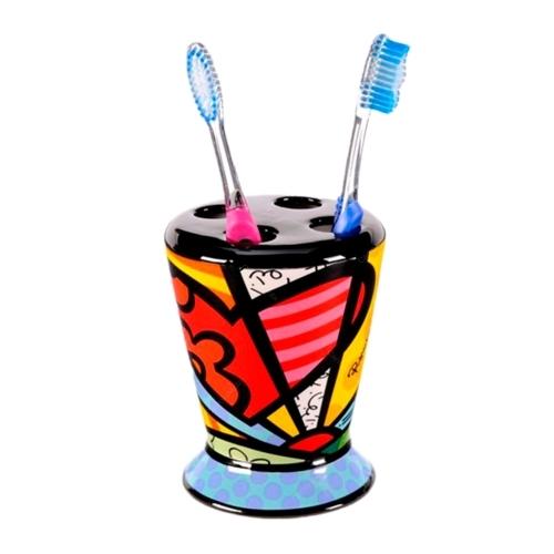 Porta Escovas - Romero Britto - em Cerâmica - 12x9 cm