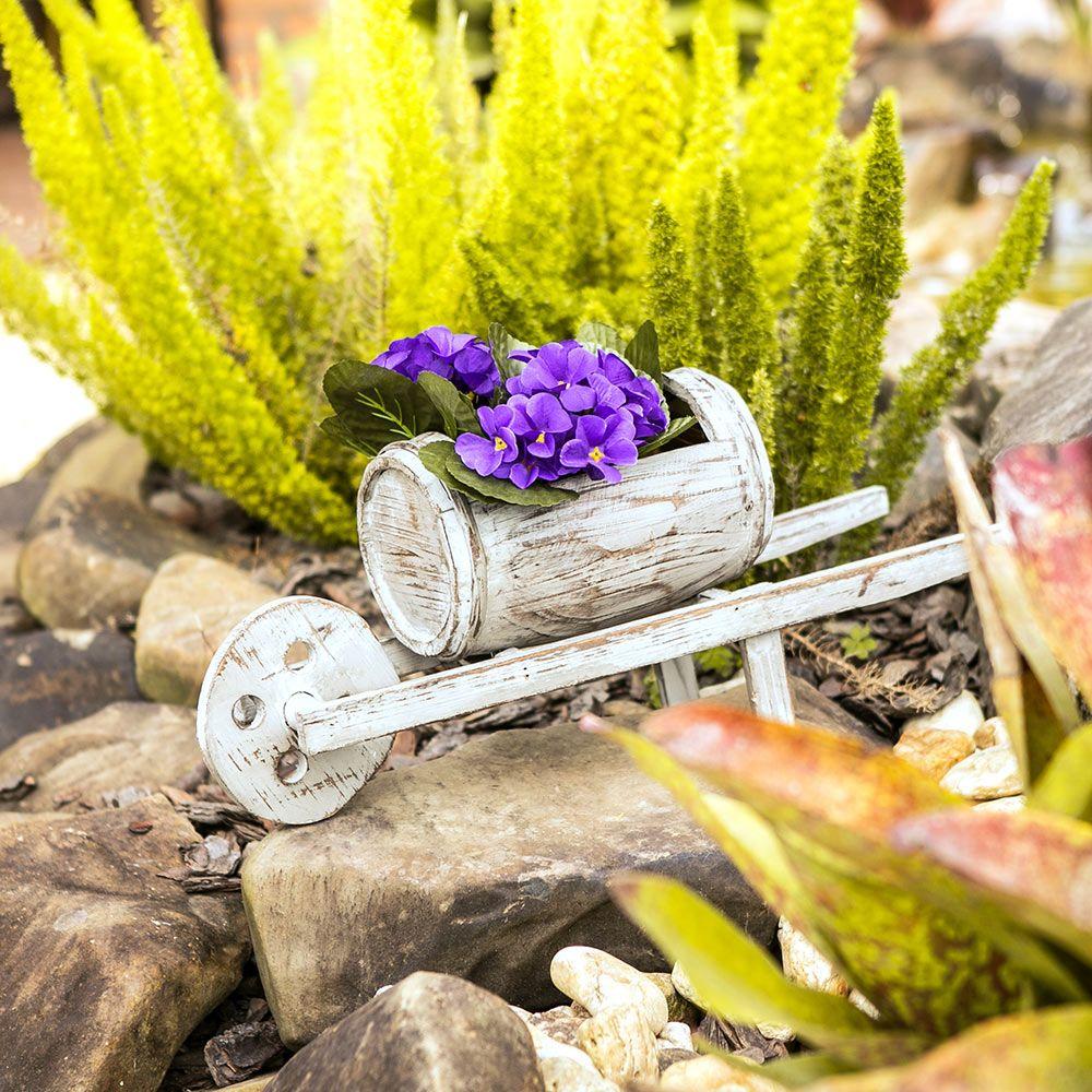 Excepcional Porta Flores Carrinho de Mão Barril em Madeira - Compre Acessórios  VI67