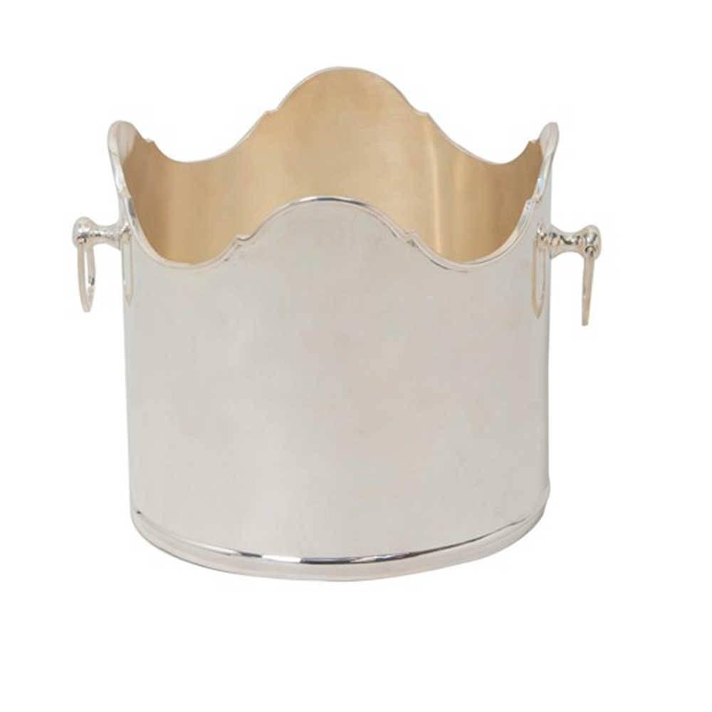 Porta Garrafa Acabamento Ondulado em Metal Banhado a Prata - 30x22 cm