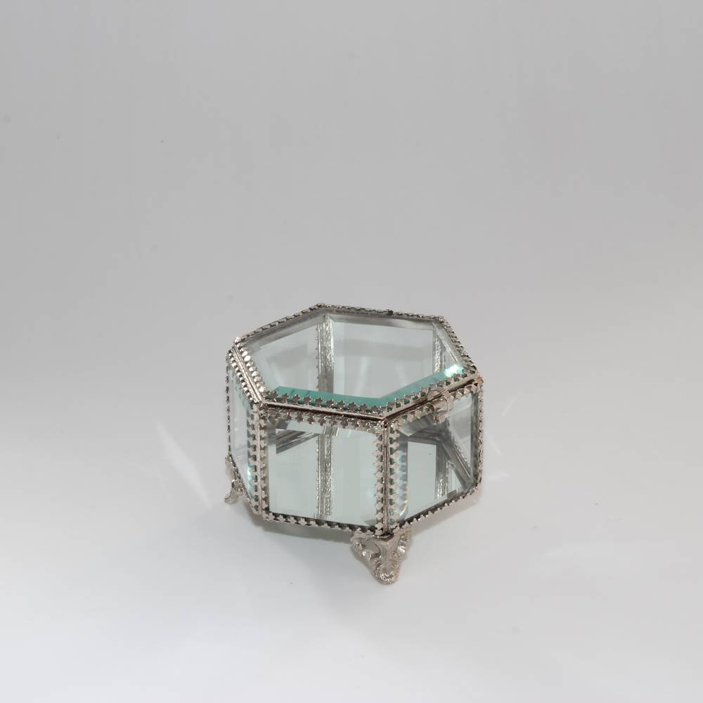 Porta-Joias Antique Hexagonal Prata Envelhecido em Metal - Wolff - 11,5x8 cm