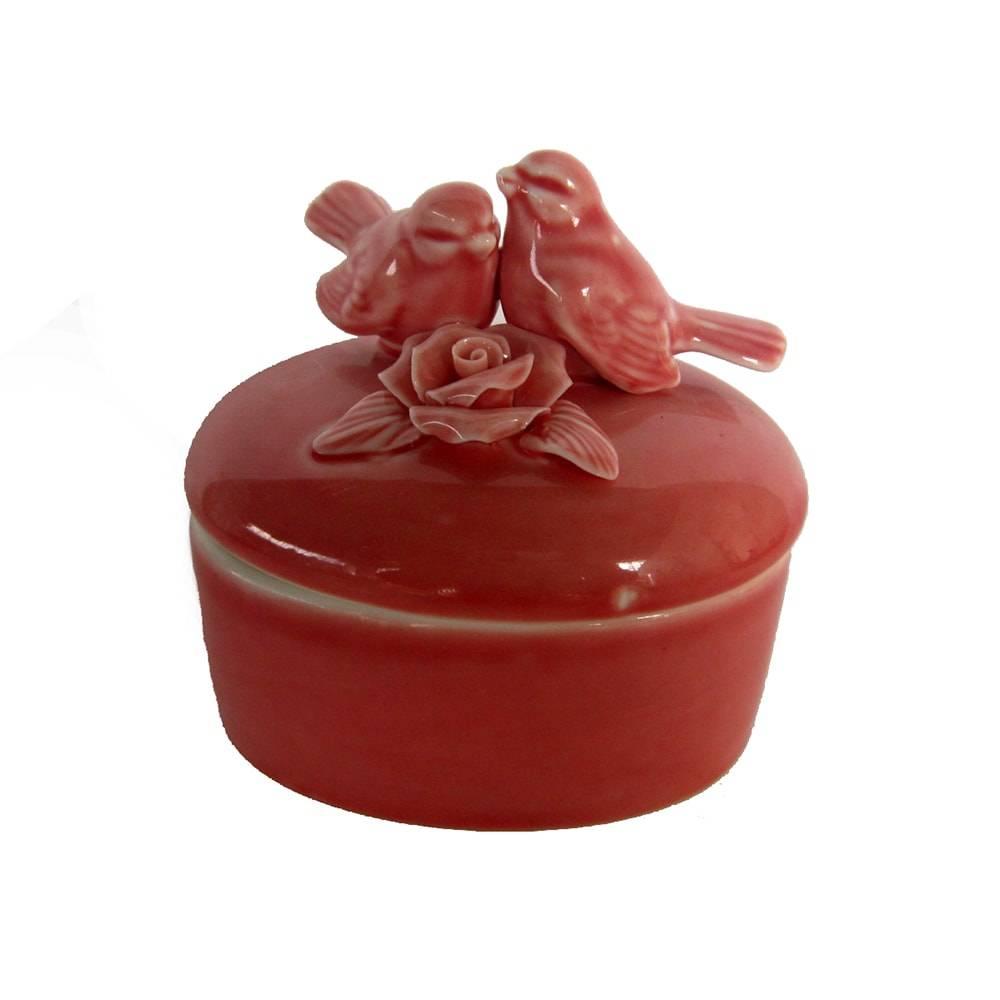 Porta Joias Birds Redondo Laranja em Cerâmica - 9x8 cm