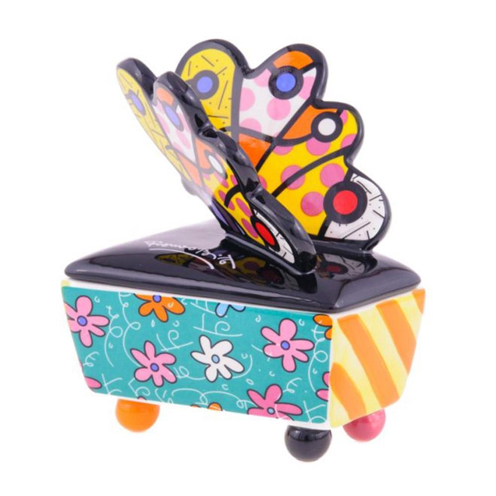 Porta Joias Butterfly - Romero Britto - em Cerâmica - 12x10 cm