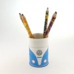 Porta lápis emborrachado kombi azul