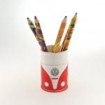 Porta lápis emborrachado kombi vermelha