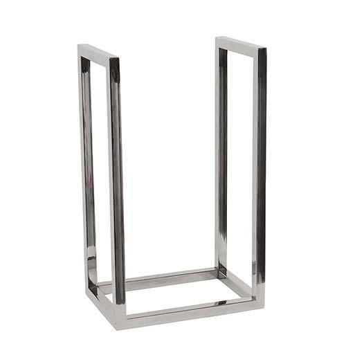 Porta Lenha Vertical para Lareira Prata em Inox Fullway - 50x30 cm
