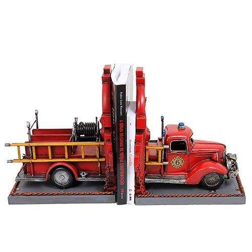 Aparador de Livros Carro de Bombeiros Vermelho Oldway em Metal - 25x21 cm