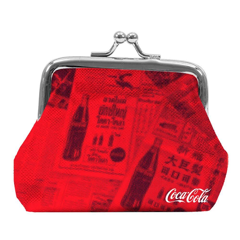 Porta Moedas Coca-Cola Newspaper Vermelho em PU - Urban - 11x10 cm