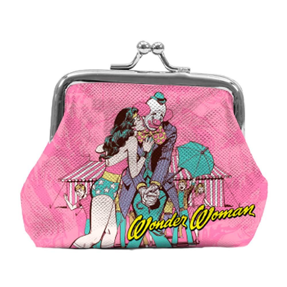 Porta Moedas DC Comics Wonder Woman Kiss Rosa em PVC - Urban - 9x8 cm