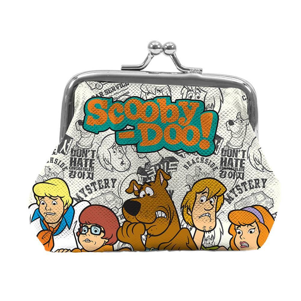 Porta Moedas Hanna Barbera Scooby Everybody Scared Fundo Branco e Preto em PVC - Urban - 9x8 cm