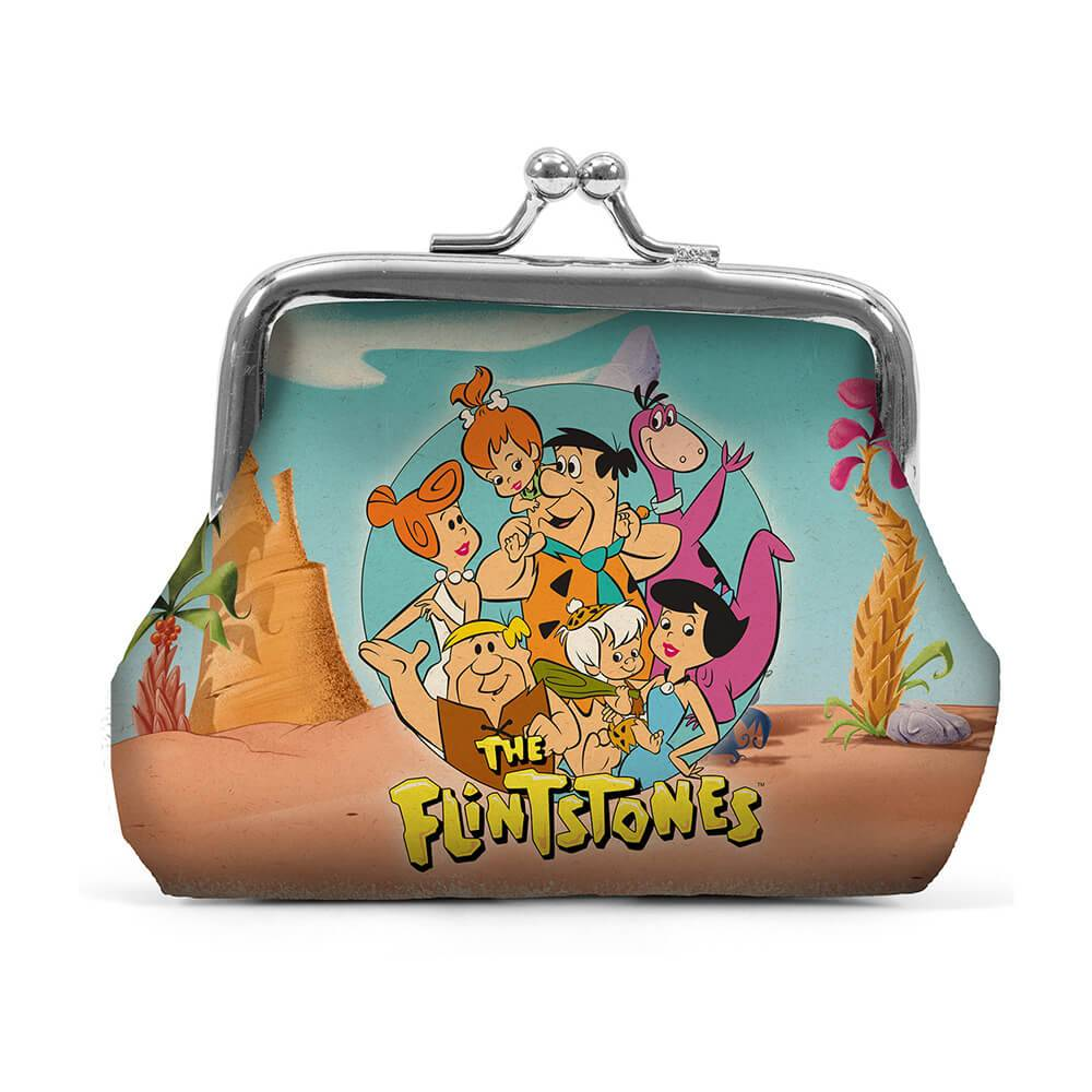Porta Moedas Hanna Barbera The Flintstones All Family Nature Fundo Azul em PVC - Urban - 9x8 cm